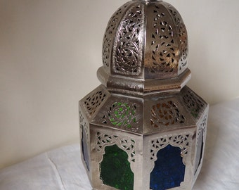 Intricate Moroccan silver lamp
