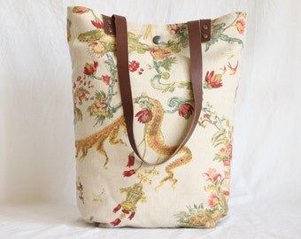 Canvas bag with leather handles, cloth bag, shopper, Asian