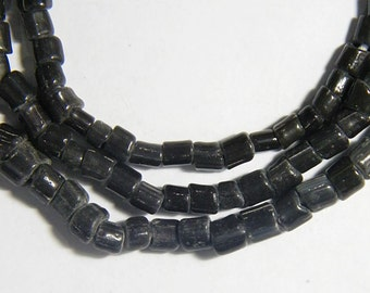 Voodoo Very Old Indo Pacific Raw Cut Black Bead Trade Wind Tribal Strand #a798