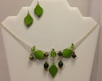 Green Enviro necklace and earrings