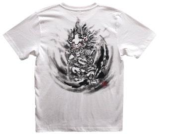 Free shipping Samurai T-shirts Shuten do-ji Japanese Sumi-e Art white Handmade