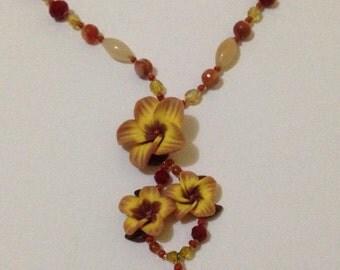 Handmade Hawaiian Wedding Polymer Clay Flower Necklace with Carnelian and Red Glass Beads
