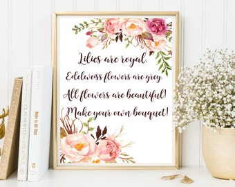 rustic wall art watercolor print Calligraphy printable quotes floral inspirational positive flower decorate wood rose pink Lilies are royal