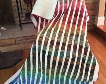Rainbow batik quilted oversized throw