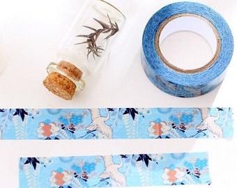 Beautiful Japanese Style Flying Crane Washi Tape / Cute Flying Bird Tape in Blue