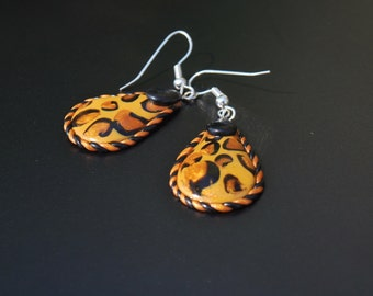 Cheetah Print Polymer Clay Earrings