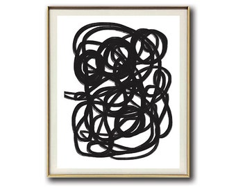 Minimalist Art Abstract #14   Black and White   Modern Art