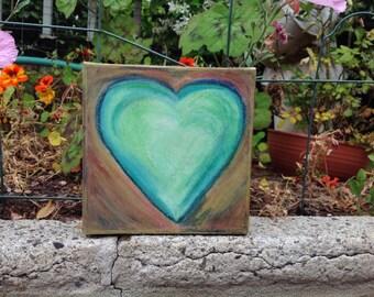 acrylic teal heart on canvas