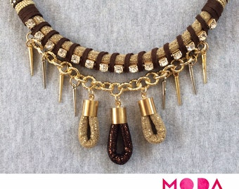 Elegant brown and gold necklace