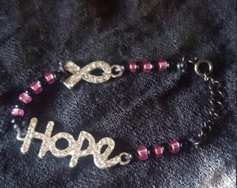 """Breast Cancer Awareness """"Hope"""" Bracelet"""