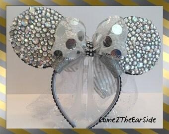 Disney Inspired Princess Ear Bridal Bride Wedding Rhinestone Pearl Bedazzled Bling Disney Christmas Ear Rhinestone Minnie Mickey Mouse Ears