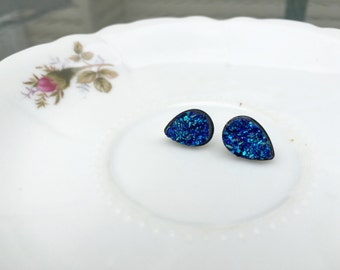 Beautiful Blue Faux Druzy Teardrop Stud Earrings