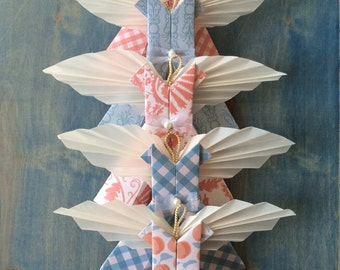 Angel Ornament Set of 5 Peach Blue, Pretty Paper Dress Angels, Holiday Decor, Modern Girls Room Nursery Party Decorations Christmas Heavenly
