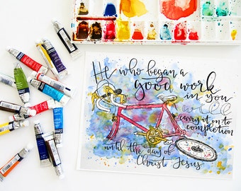 CLEARANCE // He Who Began print // Watercolor // Bible verse // Scripture print // Wall art // Hand lettering // Bike // Bicycle // Ride