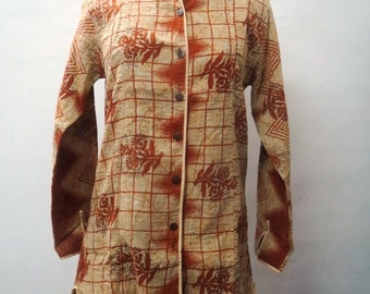Indian Cotton Kantha Vintage Jacket Handmade Long Coat Sari Boho Women Jacket