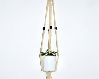 Suspension cotton macrame and beads wood