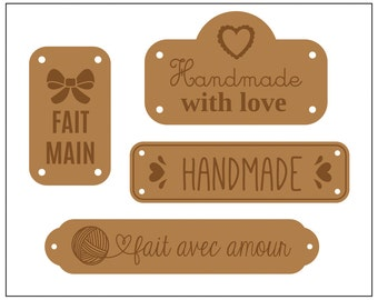 Applique 4 tags leather Handmade - labels garment - sewing - sewing - 13080035
