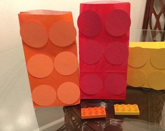 Lego inspired goodie bags, Lego theme birthday party,Lego favor bags ,set of 12,Lego birthday party, Lego goody bags