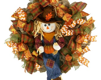 Scarecrow Wreath - Fall Wreath -  Deco Mesh Wreath -  Front Door Wreath - Holiday Decor