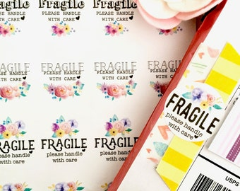 FRAGILE Please Handle With Care Floral & Colorful Shipping Stickers
