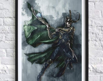 Avengers - Loki 'Watercolor' A4 Print