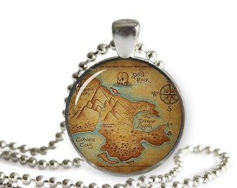 Neverland Map Necklace Pendant  Peter Pan Jewelry Geeky Fangirl Fanboy