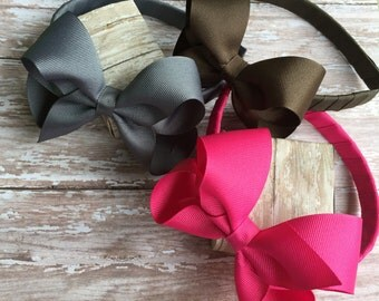 Plastic headband with boutique hair bow, Boutique hair bows, christmas headbands, fall headbands, holiday headbands, girls gift