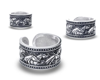 Horse Jewelry, Horses Jewelry, Ring Horse - Sterling Silver / Herd of horses