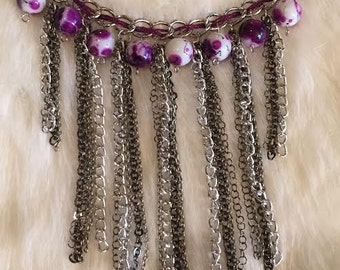 Fringe Bib  Purple Haze Necklace