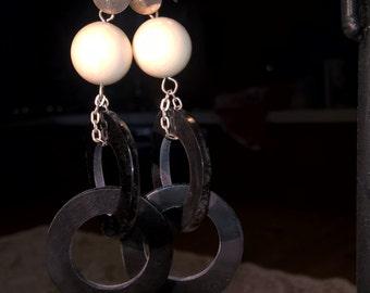 Silver, bone and Horn earrings