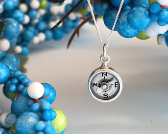 Sterling Silver , Journey necklace, Graduation Gift, Travel Necklace, Good Luck, Compass Necklace, Bon Voyage Gift