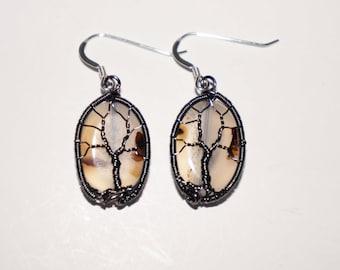 Dendritic Agate Tree of Life Earrings
