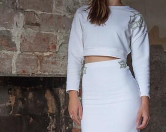White elastic tailor skirt
