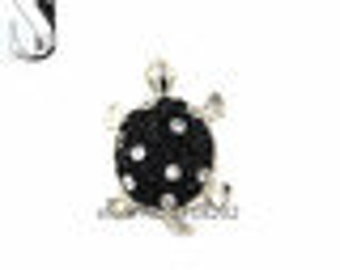 Black and Clear Crystal Turtle 20mm