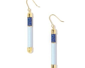 Earrings - Dancer - blue sequinned / pastel blue