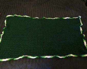 Dark Green Crocheted Blanket