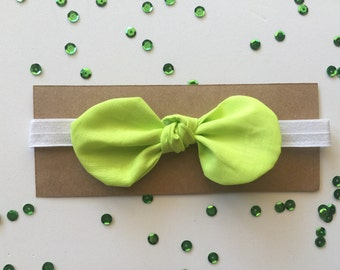 Knotted Bow with Headband - Lime Green