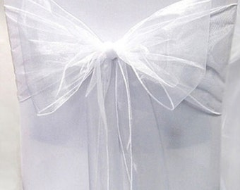 50 x White Organza Chair Cover Sashes Bow Free Shipping-Organza Wedding Chair Ties-Chair Hoods-Shower Party Banquet Decoration