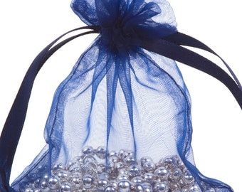 100 Navy Organza Gift Pouch Wedding Favour Bag Jewellery Pouch- 6 Sizes