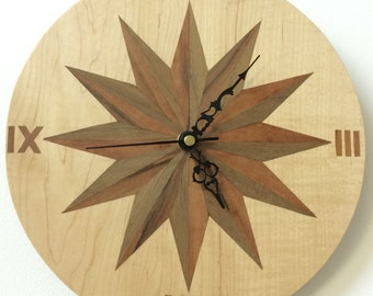 "10"" wood veneer wall clock"