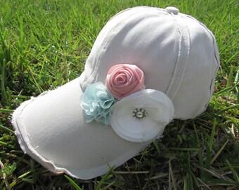 Womens off white frayed baseball hat
