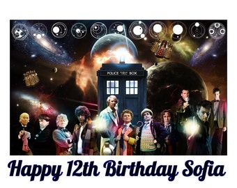 DOCTOR WHO Tardis 1/4 Edible Frosting Icing Sheet Cake Topper Image Customized Personalized Birthday 1st Party Custom Decoration