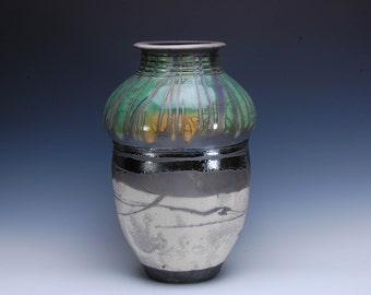 Large Ceramic Vase, Raku Pottery, Handmade Wheel Thrown Pot by Chris Breuer