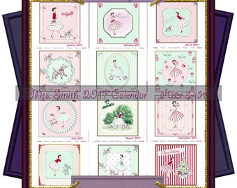 Clearance Sale - Mrs Smith 2017 Calendar A4 Sheets (PU,S4H) Scrapbook
