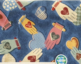 Heart in Hand Quilt Fabric, 100% Cotton, Quilting Fabric, OOP, BTFQ
