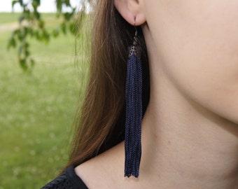 Fringe Tassel Earrings Navy/Gunmetal