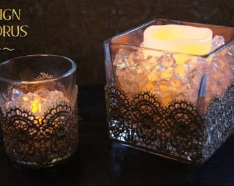 Decorative Venice Lace Candle Holder with Flameless Candle for wedding, shower, party & home decor