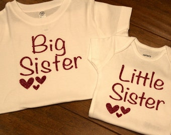 Big Sister Shirt, Little Sister Shirt, Sisters Shirt, Big Sister Heart, Big Sister, Little Sister Heart, Little Sister, Sister Glitter Shirt