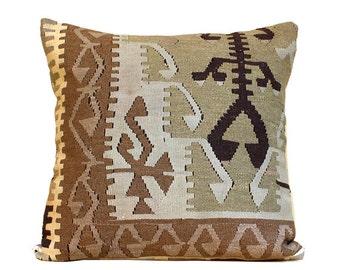 anatolia turkish hand woven kelim kissen 24x24 vintage kilim pillow bohemian pillow home decor kilim pillow brown pillowc05