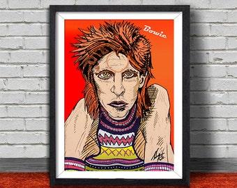 David Bowie Pop Print